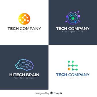 Estilo de gradiente de coleção de logotipo de tecnologia