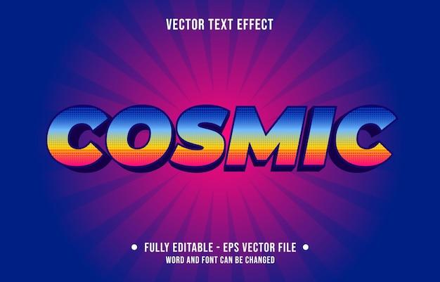 Estilo de gradiente de efeito de texto editável cósmico com padrão de meio-tom