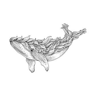 Estilo de gravura de ilustração de baleia desenhada de mão