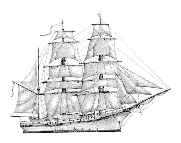 Estilo de gravura desenho mão barca, isolado vintage barque