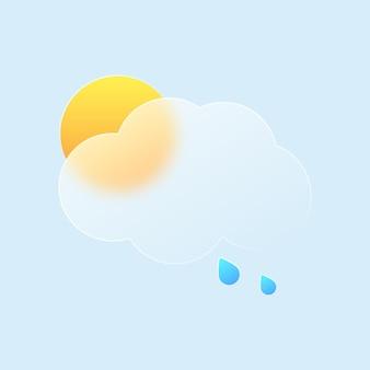 Estilo de ícone de nuvem e sol do clima em efeito de morfismo de vidro
