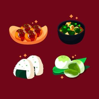 Estilo de ilustração de coleção de comida de conforto
