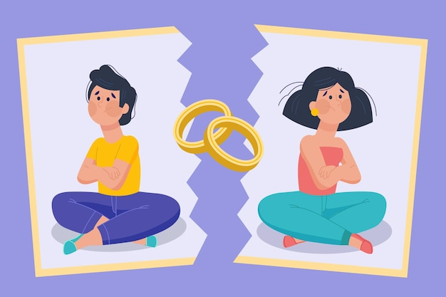 Estilo de ilustração de divórcio