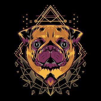 Estilo de ilustração de geometria de cão pug fofo em fundo preto
