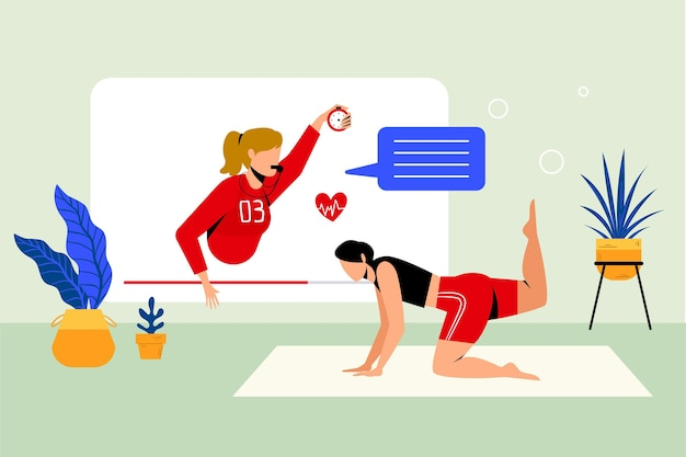 Estilo de ilustração de personal trainer on-line