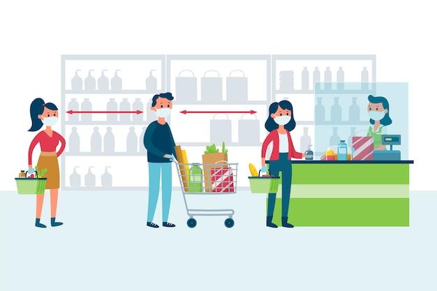Estilo de ilustração de supermercado de coronavírus