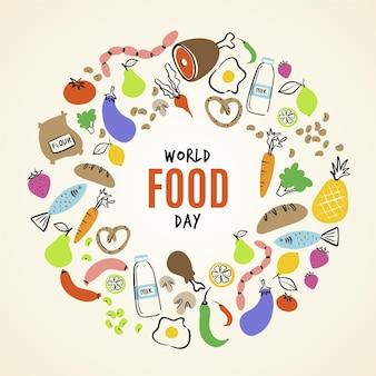 Estilo de ilustração do dia mundial da alimentação
