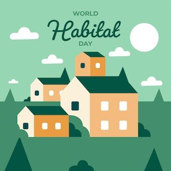 Estilo de ilustração do dia mundial do habitat