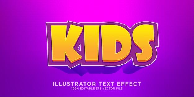 Estilo de ilustrador kids text effect design