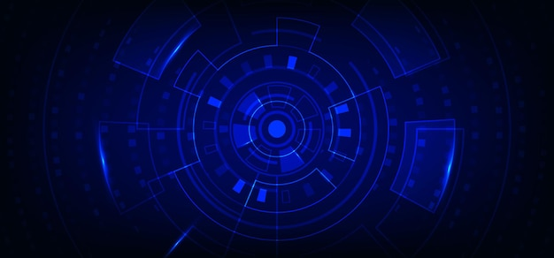 Estilo de interface de ampla tecnologia abstrata de modelo de elemento geométrico. sobreposição com plano de fundo quadrado.