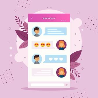 Estilo de interface de bate-papo do aplicativo de namoro