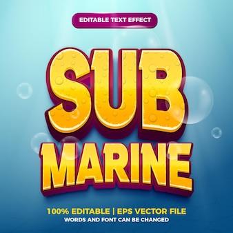 Estilo de jogo de desenho animado com efeito de texto editável submarino 3d Vetor Premium