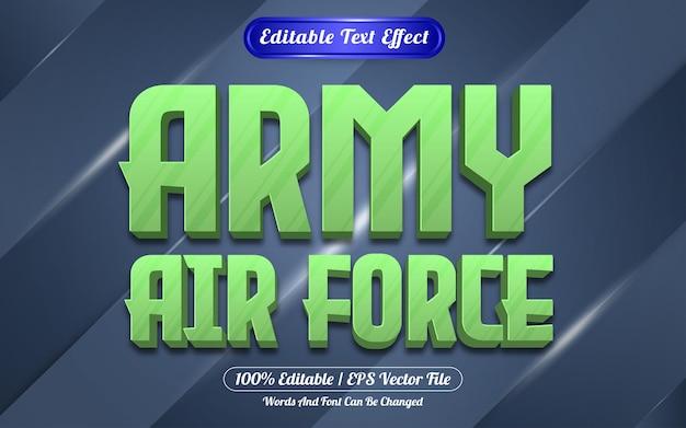 Estilo de jogo de efeito de texto editável da força aérea do exército