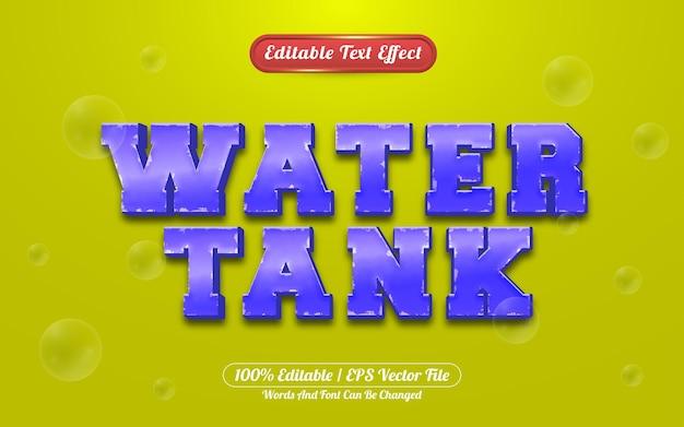 Estilo de jogo de efeito de texto editável em tanque de água 3d