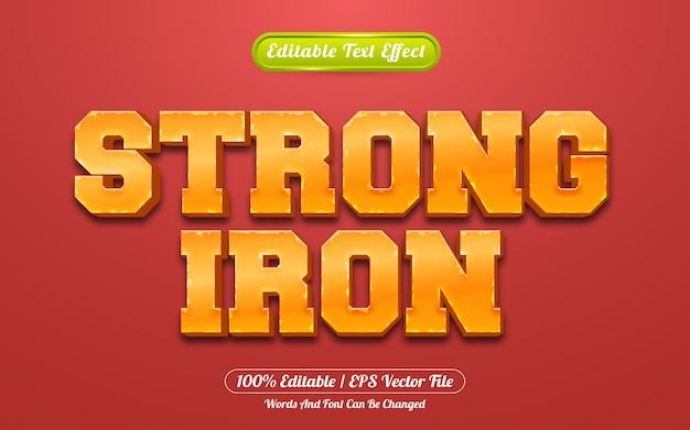 Estilo de jogo de efeito de texto editável strong iron 3d