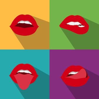 Estilo de lábios de mulher pop art com sombra
