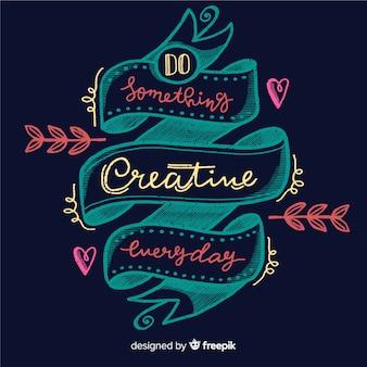 Estilo de letras de fundo de citação de criatividade