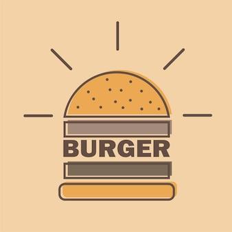 Estilo de linha colorida do emblema do logotipo do hambúrguer - ilustração vetorial
