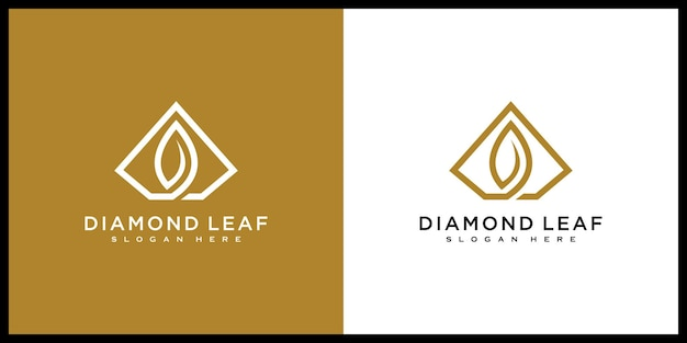 Estilo de linha de desenho de vetor de logotipo de folha de diamante