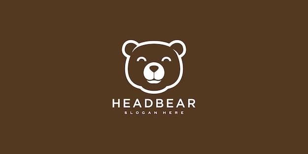 Estilo de linha de design de logotipo de vetor de urso de cabeça