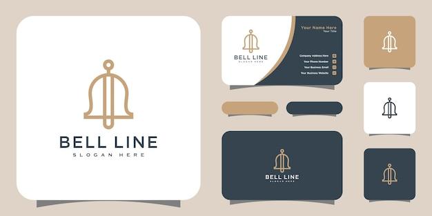 Estilo de linha de design de vetor de logotipo bell e cartão de visita