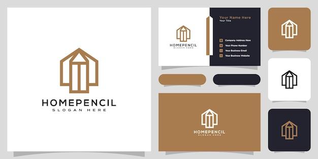 Estilo de linha de design de vetor de logotipo de lápis de casa e cartão de visita
