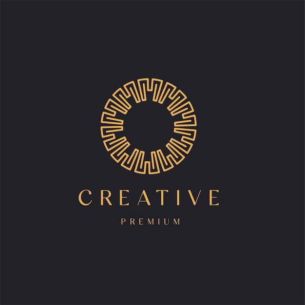 Estilo de linha de ornamento de círculo de luxo abstrato com logotipo de conceito da letra m