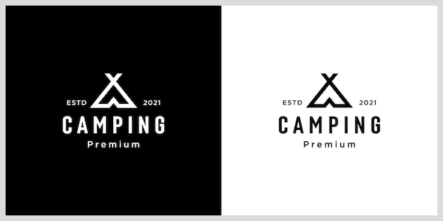 Estilo de linha de vetor de logotipo de acampamento de barraca