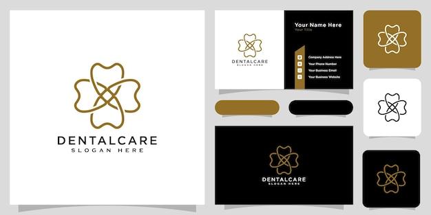 Estilo de linha de vetor de logotipo de atendimento odontológico e cartão de visita