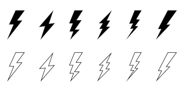 Estilo de linha do conjunto de ícones do flash