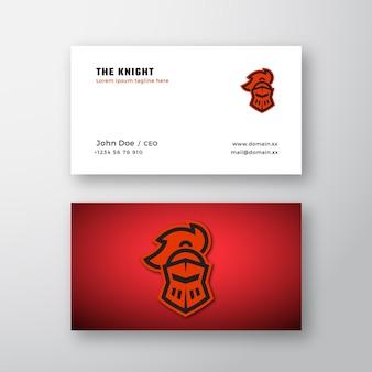 Estilo de linha knight helmet logotipo de vetor abstrato e modelo de cartão de visita