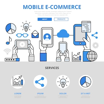 Estilo de linha plana de conceito de conexão de usuário de venda de compras on-line de comércio eletrônico móvel.