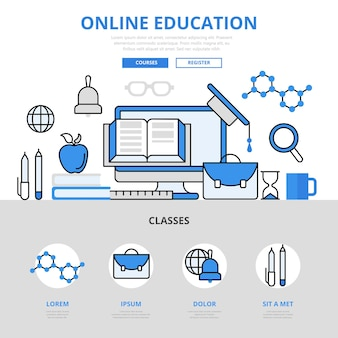 Estilo de linha plana do conceito da biblioteca do curso de educação online.