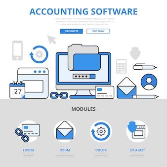 Estilo de linha plana do conceito de aplicativo de aplicativo de software de contabilidade.
