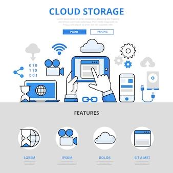 Estilo de linha plana do conceito de aplicativo móvel de armazenamento em nuvem.