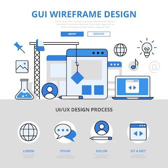 Estilo de linha plana do conceito de design de wireframe gui.