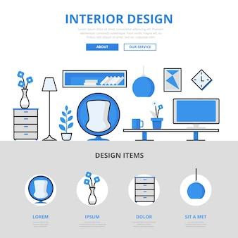 Estilo de linha plana do conceito de mobília interna do quarto do estúdio de design de interiores.
