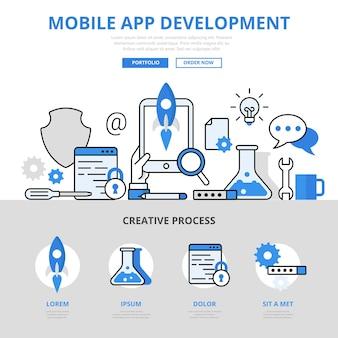 Estilo de linha plana do conceito de processo de desenvolvimento de aplicativos móveis.