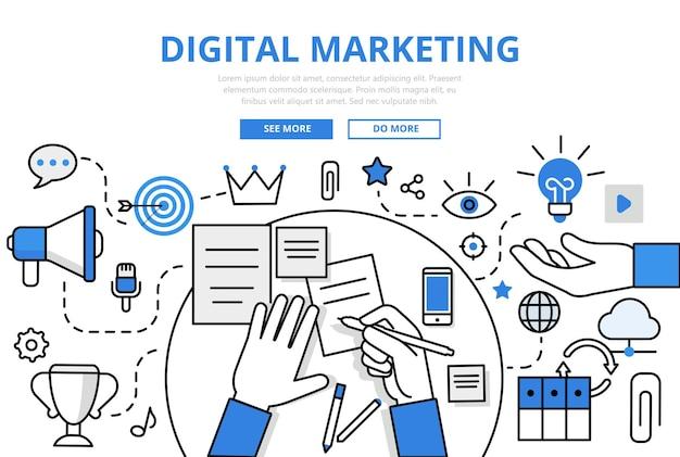 Estilo de linha plana do conceito de tráfego de promoção online marketing digital.