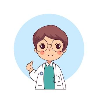 Estilo de linha plana médica design de personagens fofinhos