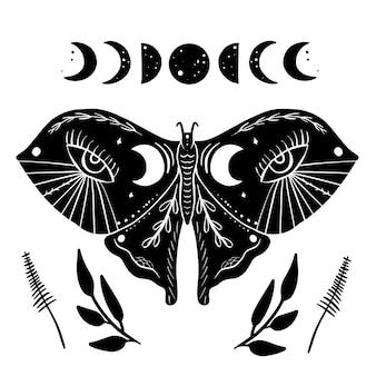 Estilo de linogravura de traça mystic moon em preto e branco. ilustração desenhada à mão