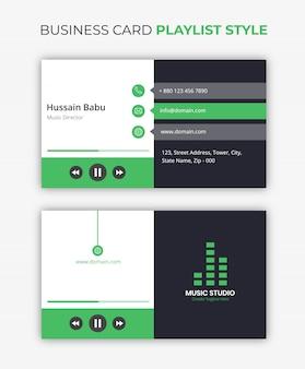 Estilo de lista de reprodução de música de cartão de visita