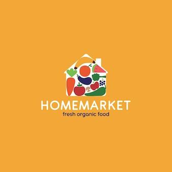 Estilo de logotipo de supermercado orgânico