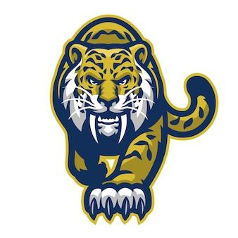 Estilo de logotipo esportivo do mascote sabretooth