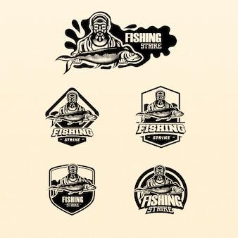 Estilo de logotipo fisher monocromático homem