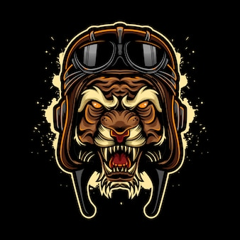 Estilo de logotipo vintage tigre bravo com capacete de piloto