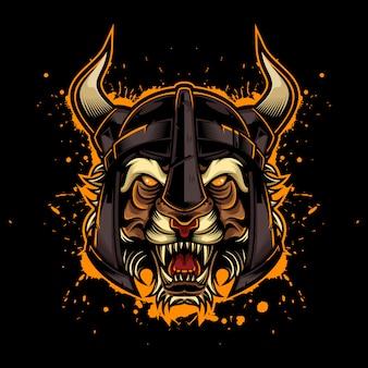 Estilo de logotipo vintage tigre bravo com capacete viking