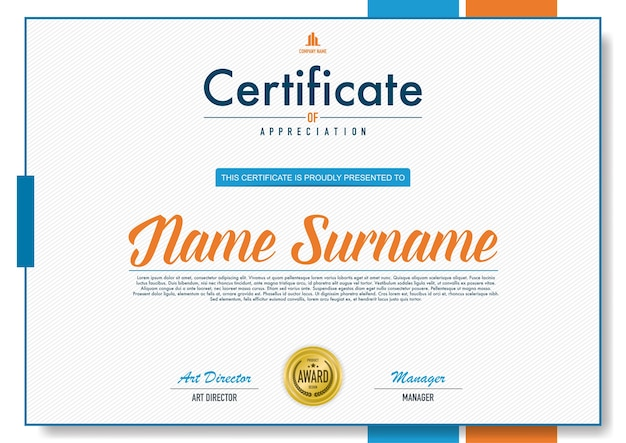 Estilo de luxo e diploma de modelo de certificado