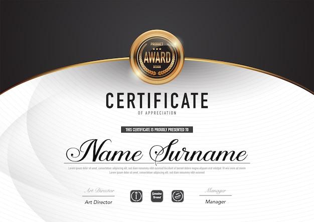 Estilo de luxo e diploma de modelo de certificado.