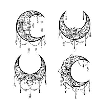 Estilo de mandala de lua crescente, coleção de elementos de decoração de lua